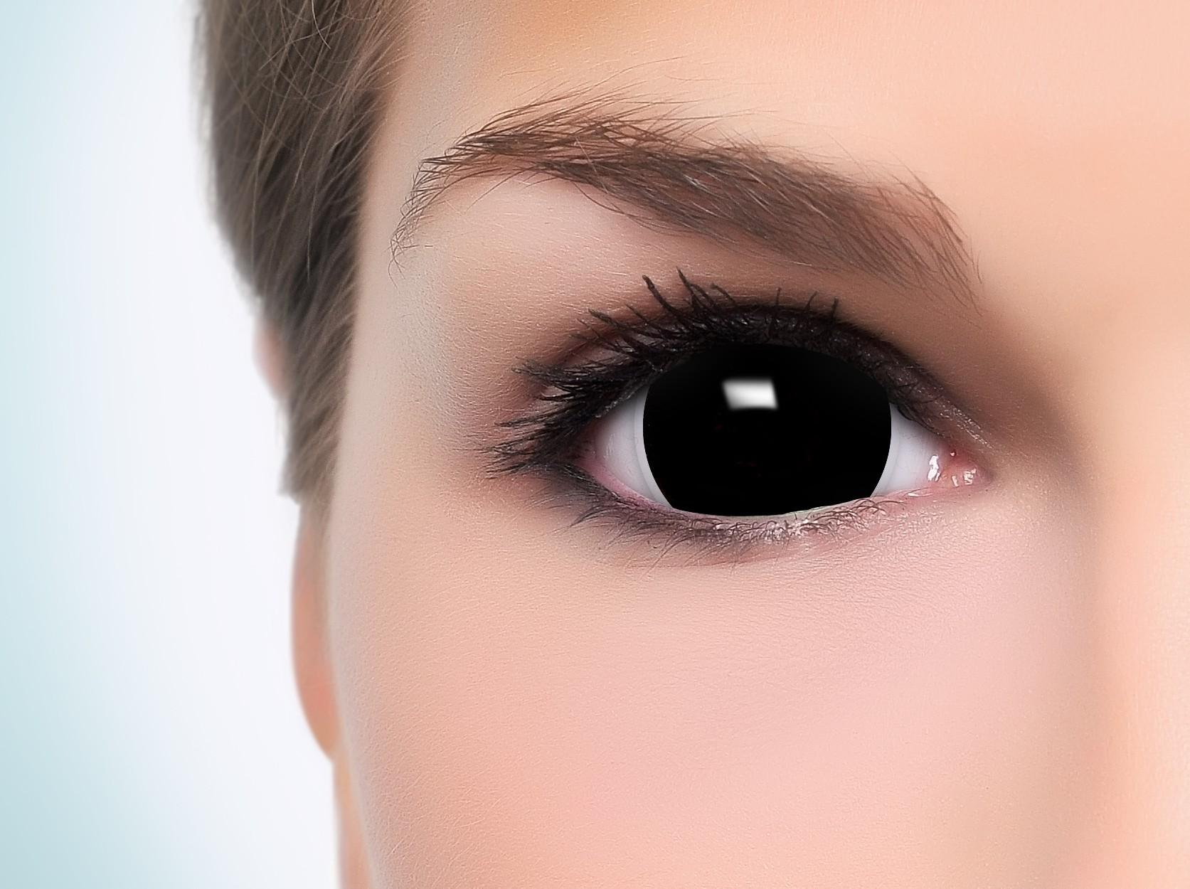 schwarze mini black sclera kontaktlinsen halloween. Black Bedroom Furniture Sets. Home Design Ideas